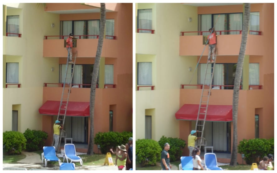 Näihin hotellin ahkeriin maalareihin päätän raporttini Dominikaanisesta Tasavallasta!