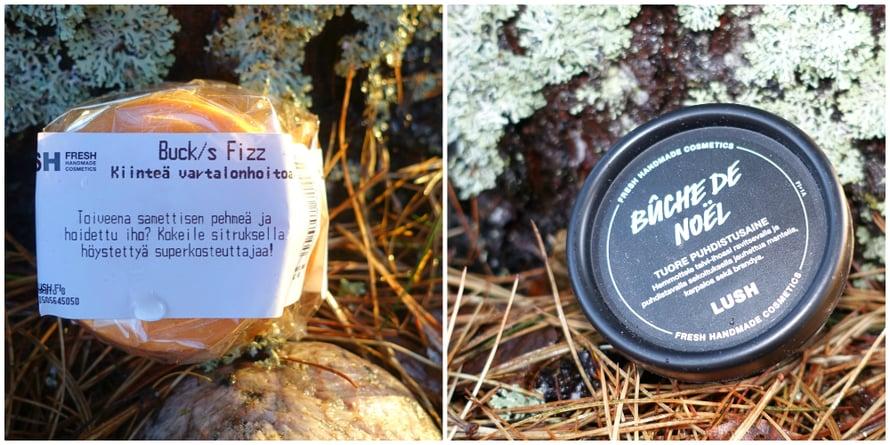 Lush valmistaa tuoretta, käsintehtyä kosmetiikkaa. Tuotteissa käytetään paljon luonnonmukaisia raaka-aineita sekä myös joitain synteettisiä. Yritys noudattaa reilun kaupan periaatteita. Lushin tuotteet ovat vegetaarisia, ja merkittävä osa tuotteista myös vegaanisia. Tuotteitavoi tilata esimerkiksi yrityksen verkkokaupasta.Buck's Fizz -kiinteä vartalonhoitoaine* sisältää viininlehtiuutetta, appelsiinia ja konjakkiöljyä. Tuotetta hierotaan kostealle iholle suihkussa. Hinta 14,95 €. Buche De Noel -kasvojenpuhdistussavi* sopii kaikile ihotyypeille.Tuoretuote sisältää satsumoita ja karpaloita, mantelia glyserolia ja kaakaovoita. Hinta 15,95 €