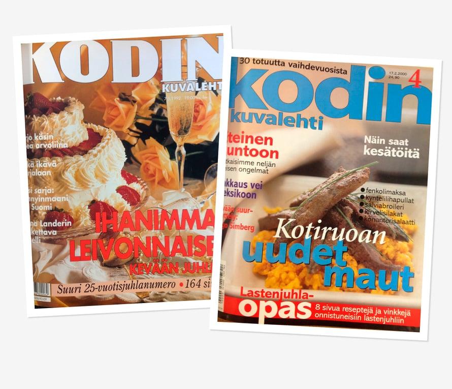 Vuonna 1992 Kodin Kuvalehti täytti 25 vuotta ja kannessa skoolattiin kuohuvalla. Vuonna 2000 kannen pääroolissa pötkötteli paistettu maksa.