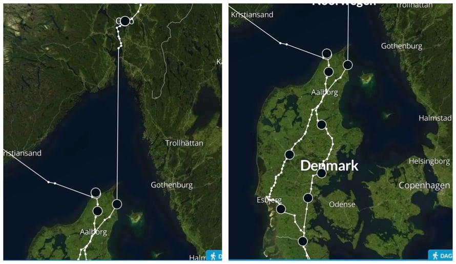 Tanskan tulo- ja menoreitti risteävät.