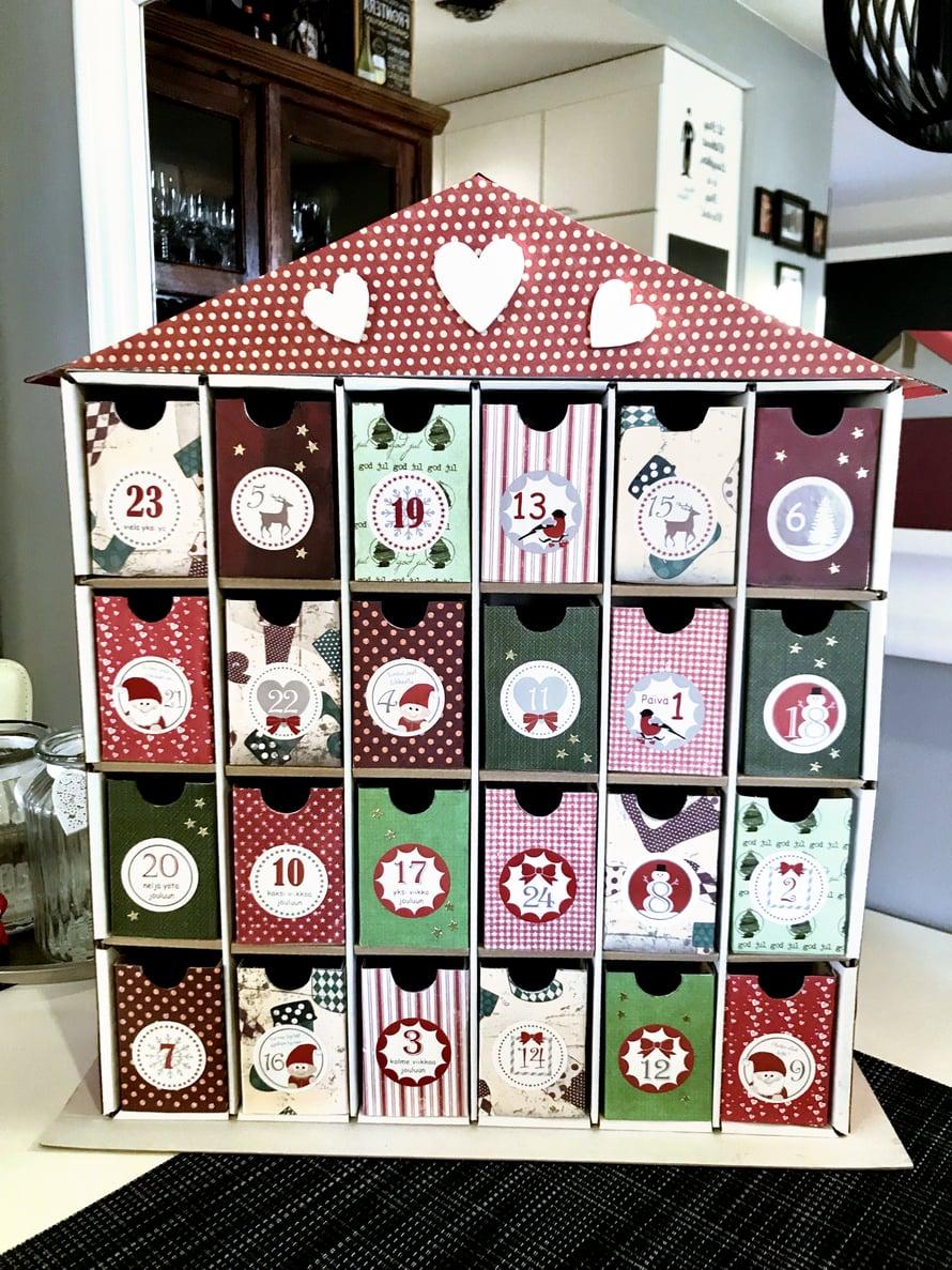 Mitä yllätyksiä sinä kätkisit joulukalenteriin? Pirkko laittaa äitinsä kalenteriin muun muassa siivous- ja leipomislupauksia.