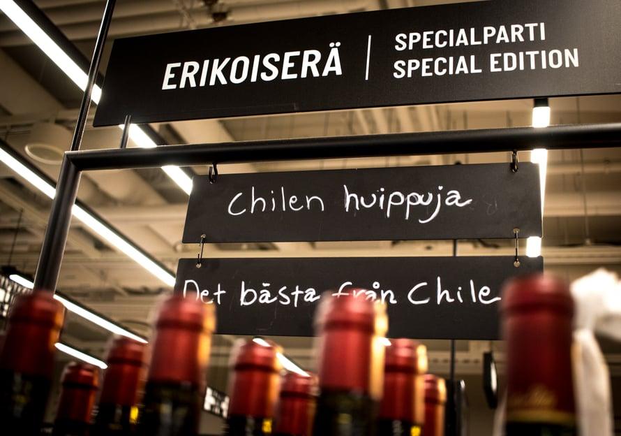 Chilen houkutuksia Alkon Erikoiserähyllyssä.