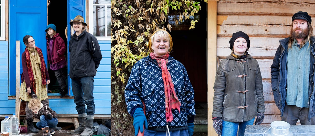 Inkeri Aula, Ville Korpelainen, Kuisma ja Anni (vas.) muuttivat unelmiensa kotiin kaksi vuotta sitten. Rita Kreivillä on vanhalla kyläkoululla sekä vilskettä että omaa rauhaa. Hanna Viinamäki ja Markus Lahti asuvat Markuksen rakentamassa hirsitalossa.