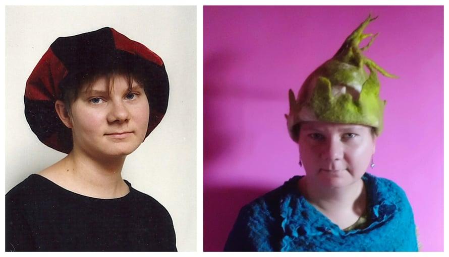 Berliinilätsä lukiokuvassa, ja itse huovutettu Robin Hood -tyylinen hattu.