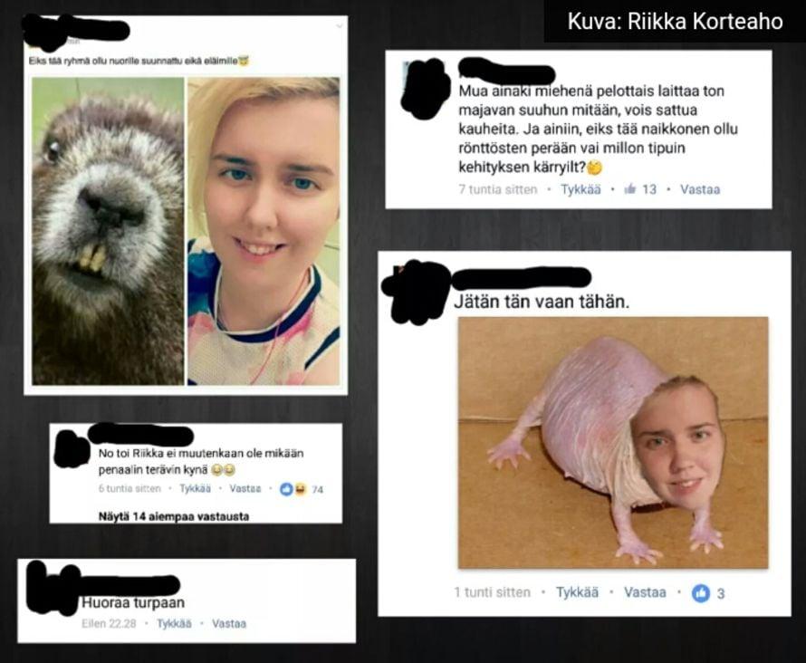 Kiusaajat jakoivat netissä Riikasta pilakuvia ja pilkkakirjoituksia. Ennen kuvien julkistamista Riikka peitti kommenteista itse kiusaajien nimet.