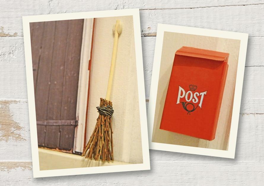 """""""Luudan kokosin rautalangasta, ohuista pensaan oksista ja diffuuserin puutikusta. Bonuksena on tontun postilaatikko, joka on askarreltu tavallisesta tulitikkuaskista."""""""