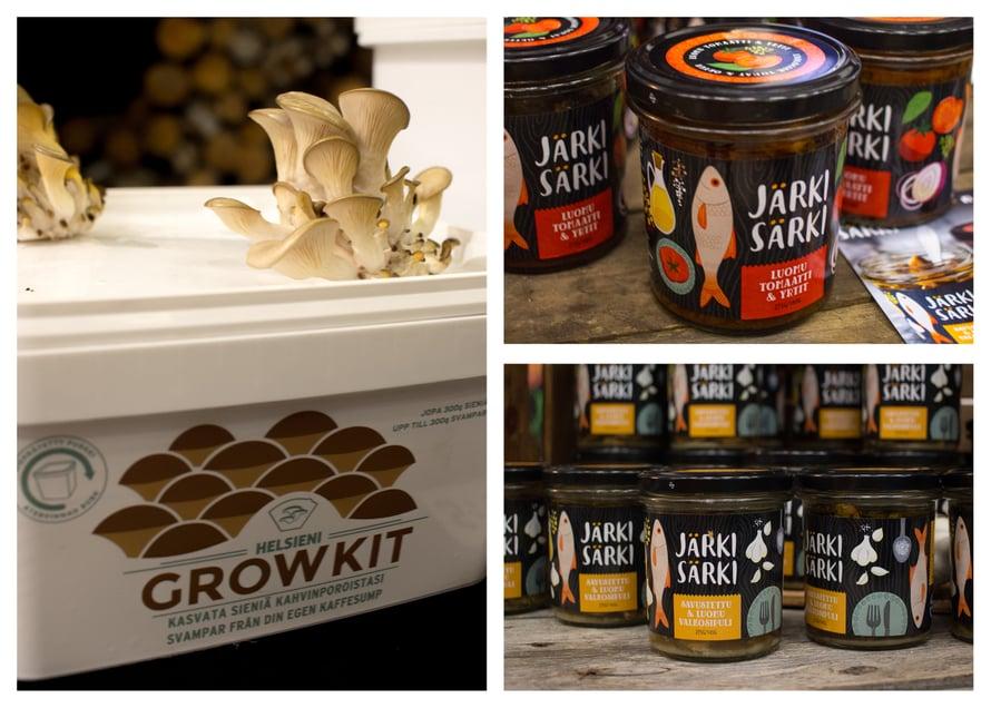 Lähiruoka- ja luomumessujen parasta antia oli mielenkiintoinen Helsieni, joka on startup-yritys ja kehittää tuotteita, joiden avulla kotitaloudet sekä yritykset voivat helposti viljellä sieniä. Esittelyssä oli mm. laatikko, jonka avulla voi kasvattaa osterivinokkaita omia kahvinpuruja hyödyntäen, sekä pihalle laitettavat itiöpölkyt, joiden avulla voi kasvattaa takapihallaan sieniä. Maistelin myös Järki Särki -kalasäilykettä, joka on kiinnostanut jo pitkään. Tämä olisi täydellistä retkievästä saaristomatkallemme!