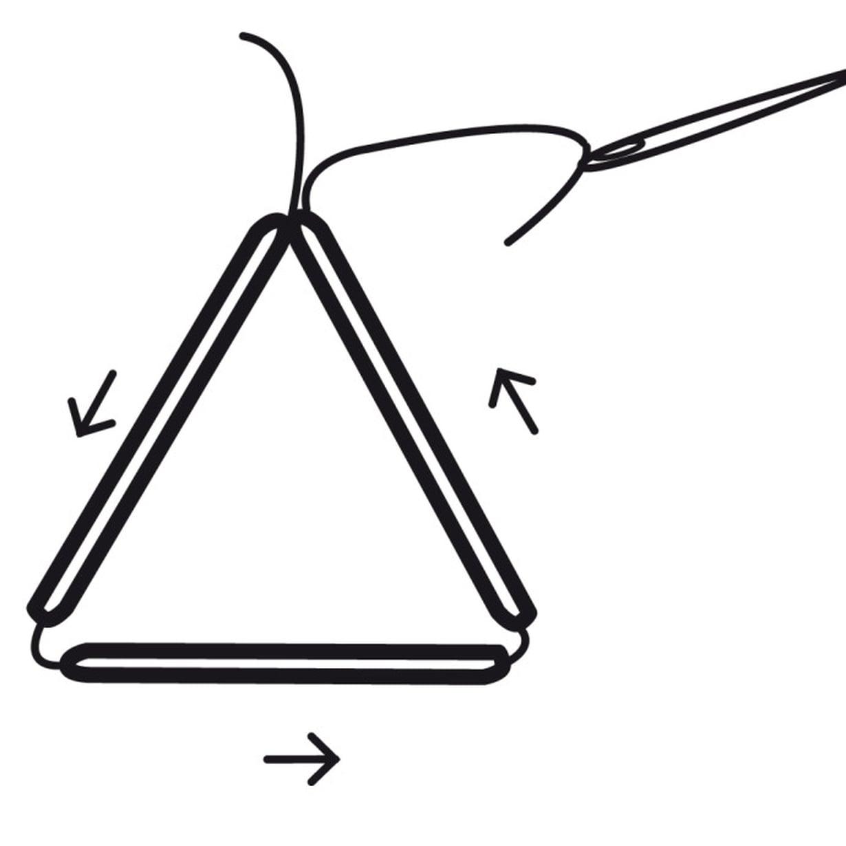Peruskuvioon tarvitset 12 yhtä pitkää pilliä tai olkea. Pujota lankaan kolme pilliä ja solmi ne kolmioksi.