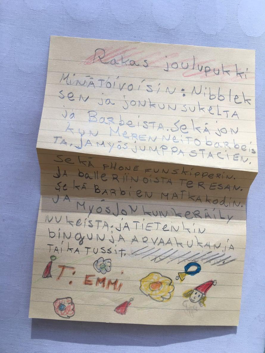 Tämä kirje löytyi hiljattain kirjoittajansa äidin lipaston laatikosta – avaamattomana. Phone fun skipper ja jumppastacie ovat edelleen saamatta.