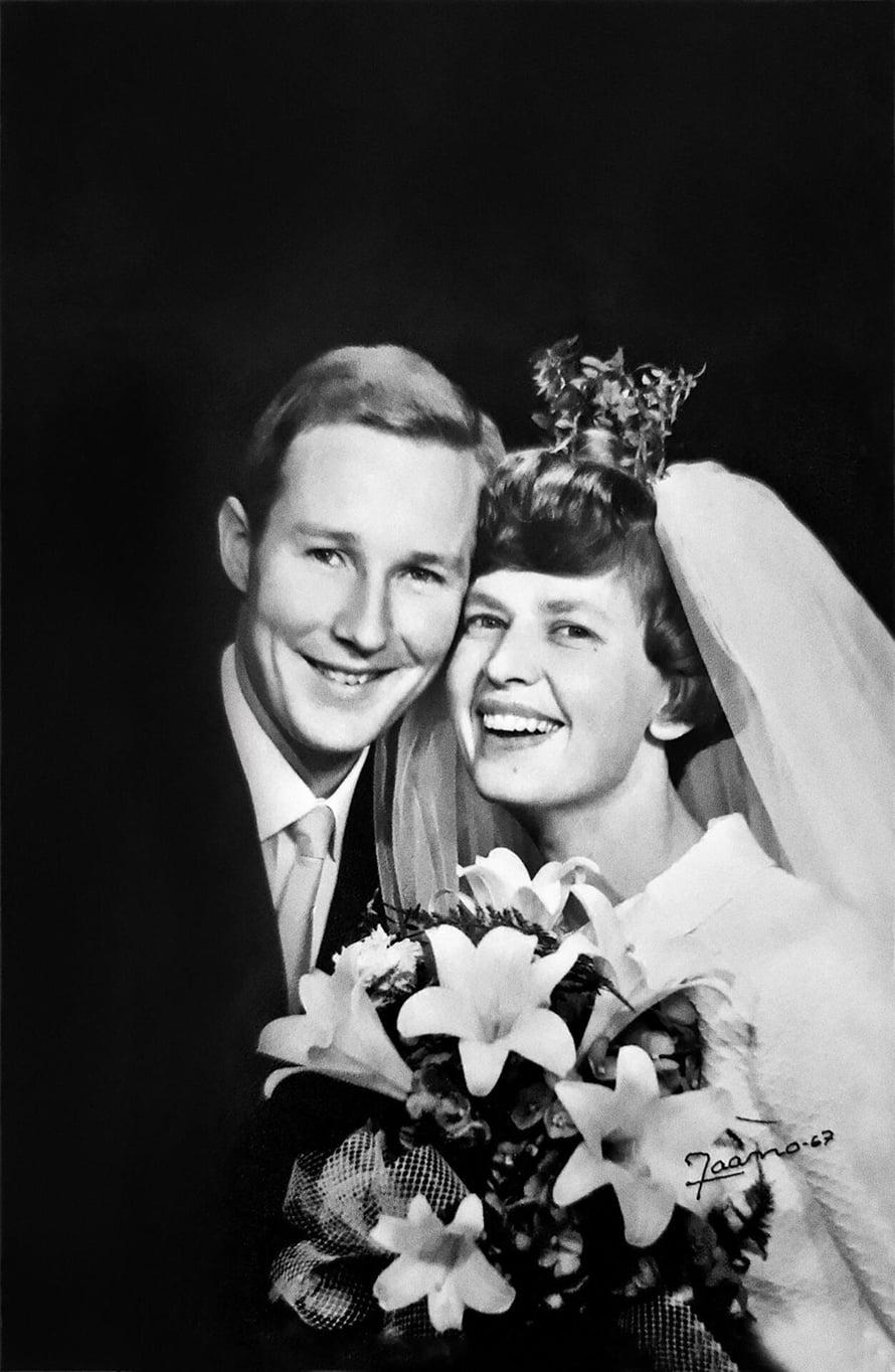 Kimmo ja Ritva menivät naimisiin 22.10.1967 Elimäen kirkossa, Ritvan kotipitäjässä.