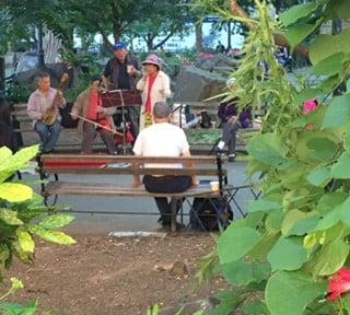 Musiikkiesitys Columbus Parkissa.