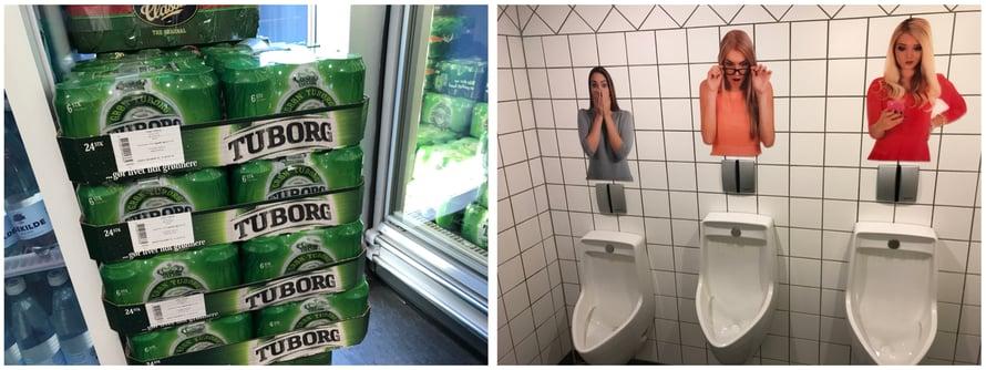 Tervetuloa hauskaan Tanskaan. Norjalaiset ihmeissään halvan oluen ääressä heti huoltoasemalla. Ja sitten mieheni tunnelmakuva ostoskeskuksen miestenvessasta.