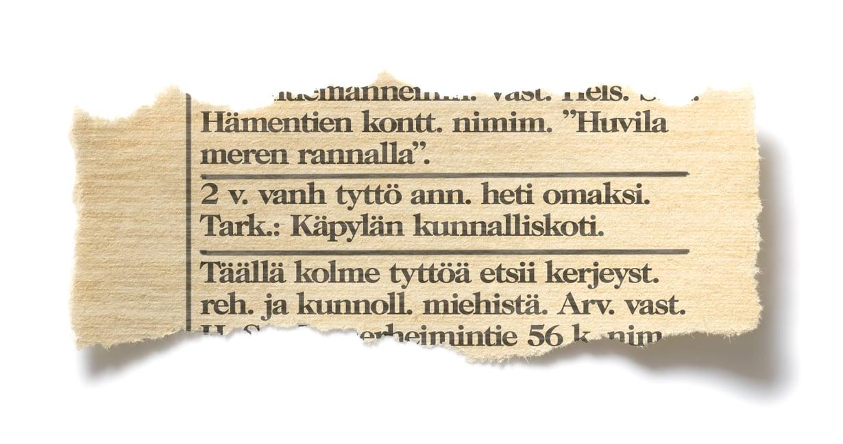 Helsingin Sanomat 11.5.1949, yksitoista päivää Liisa-Cristiinan syntymän jälkeen.