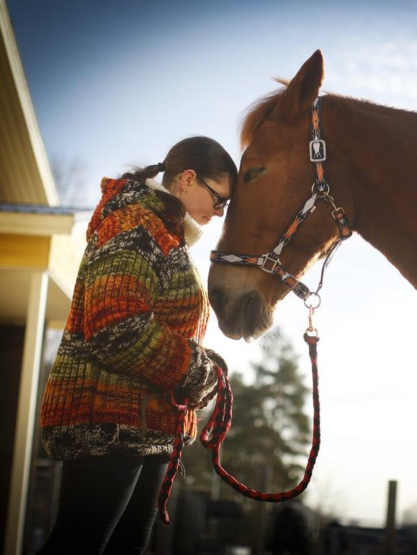 """Toimintaterapeutti Heli Leppäkangas ja Veeru-hevonen ovat taitava työpari. """"Asiakkaani ovat enimmäkseen lastenpsykiatrian ja lastensuojelun asiakkaita. Eläinten kanssa toimiminen vähentää stressiä, lievittää neuroottisia oireita ja selkiyttää tunteita"""", Leppäkangas kertoo."""