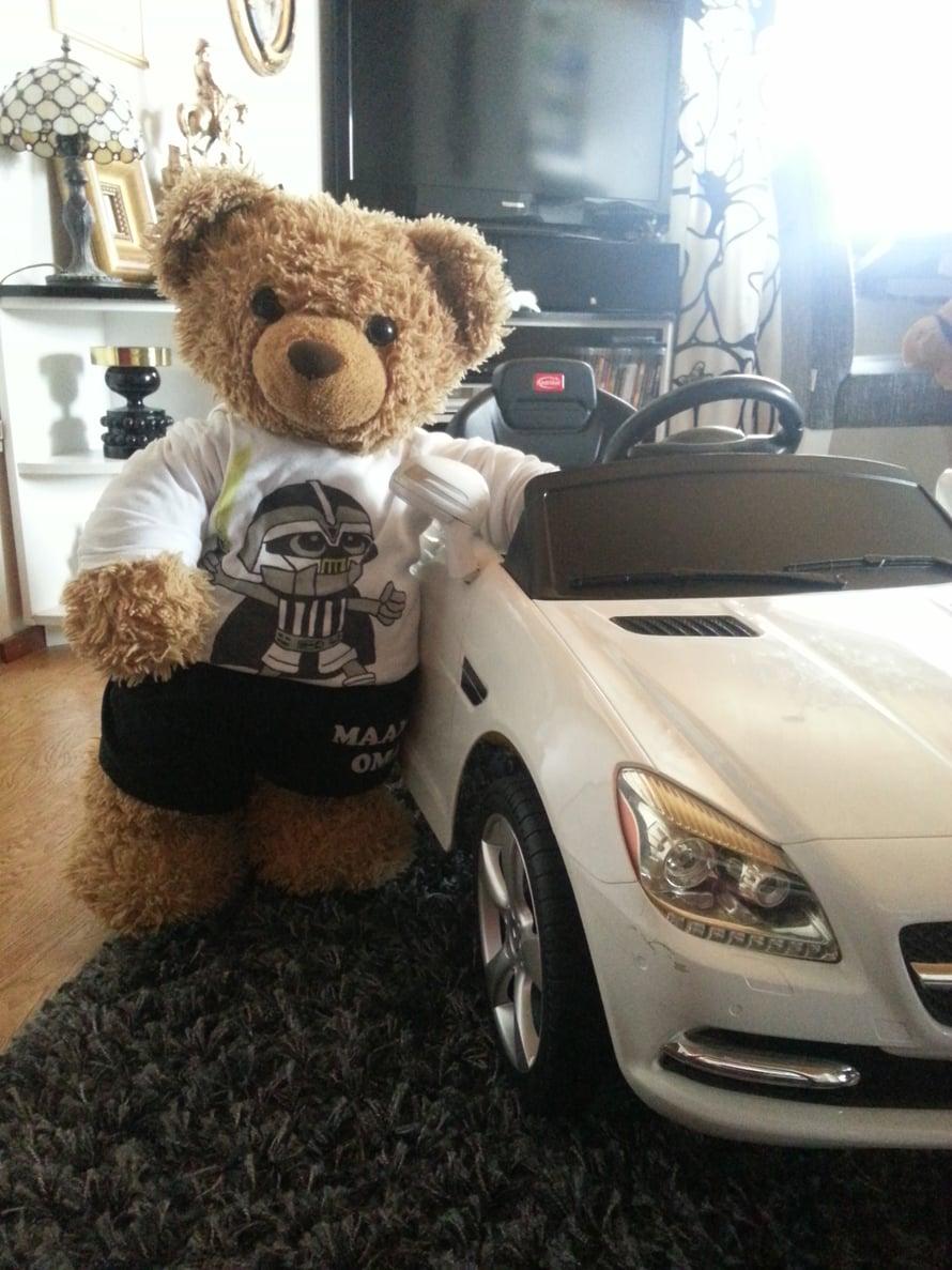 """""""Karhuherra nimeltä Häirikkö muutti meille kymmenen vuotta sitten asumaan. Koska perheessä ei ole lapsia, hänestä on tullut perheen lellikki. Kuten kuvasta näkyy, karhuherra omistaa jopa oman auton."""" – Una"""