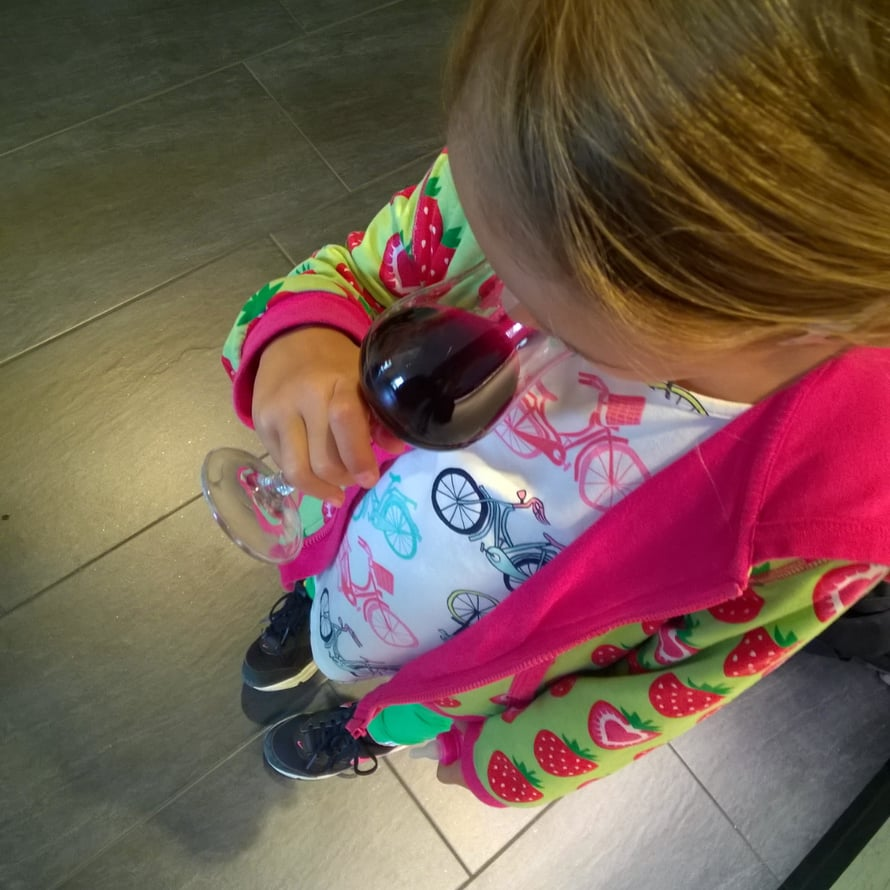 Lapsille tarjottiin maistelussa viinilaseista rypälemehuja.