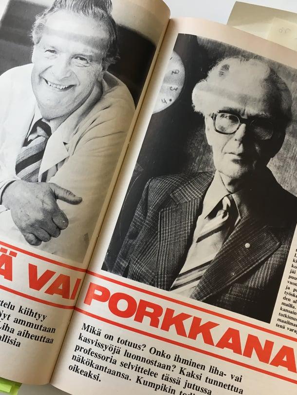 Fritz Niinivaara (vas.) puolusti lihaa, Toivo Rautavaara kasviksia.