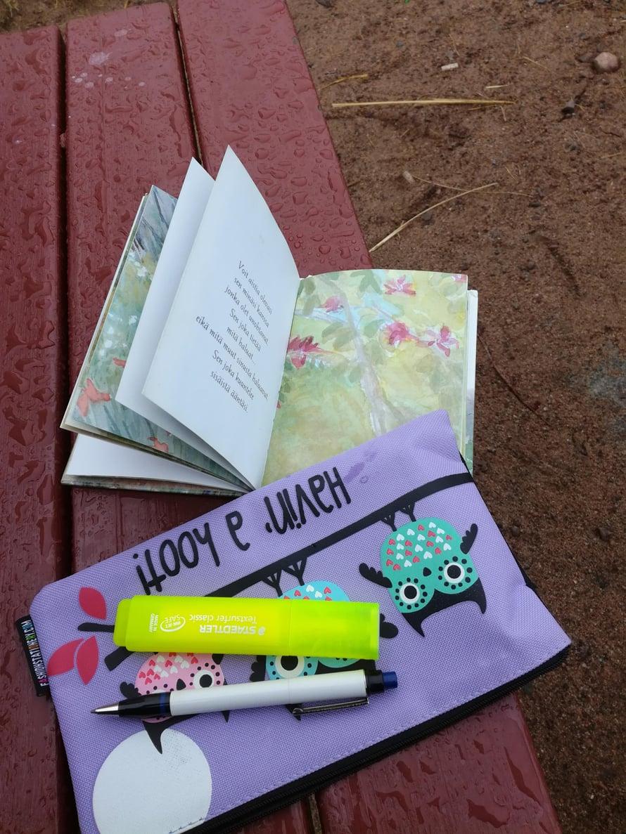 Kirsi kirjoittaa ajatuksiaan pieniin muistikirjoihin ja tekee niistä värittämällä kauniita. Myös toisten kirjoittamia mietelauseita hän lukee mielellään.