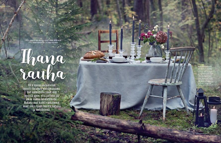 Tältä näyttää Kodin Kuvalehden jouluruokajutun avausaukeama lehdessä.