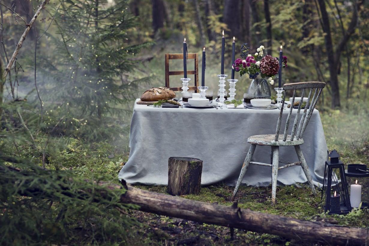 Ihana rauha. Se tuli Kodin Kuvalehden suuren jouluruokajutun nimeksi. Sitä varten helsinkiläismetsään loihdittiin joulupöytä yhtenä lokakuisena päivänä.