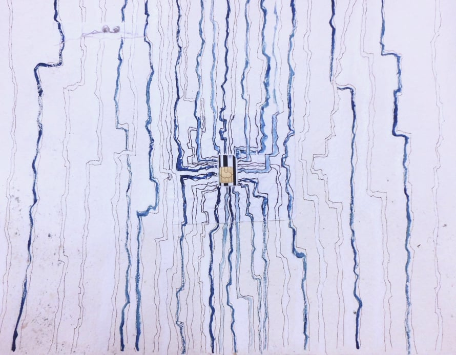 Kuva aivojen synapseista. Tai oikeasti abstrakti mixed media -teokseni vanhan puhelimen SIM-kortin kera.