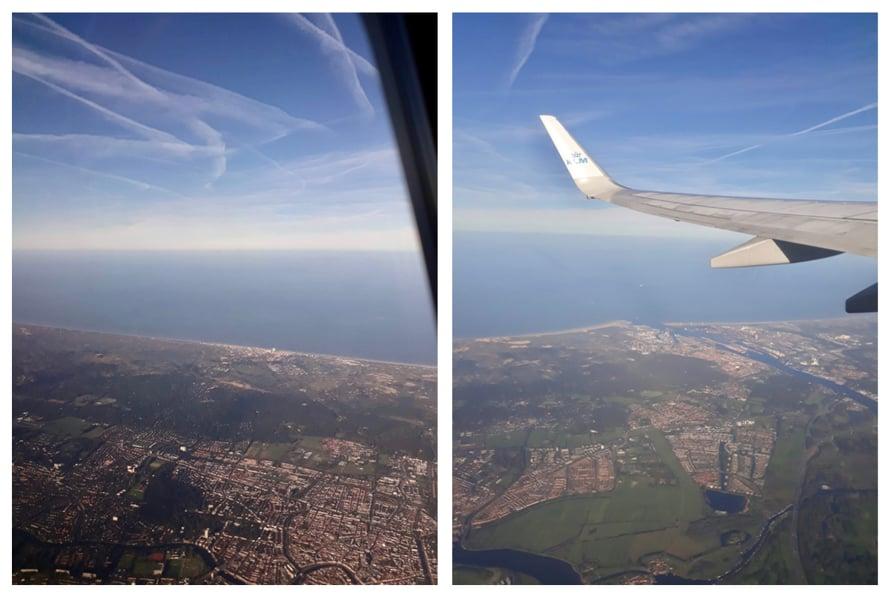 Vasemmassa kuvassa Haarlemin keskusta ja takana rannikolla Zandvoort; oikean kuvan joensuun satamahässäkkä on IJmuiden.