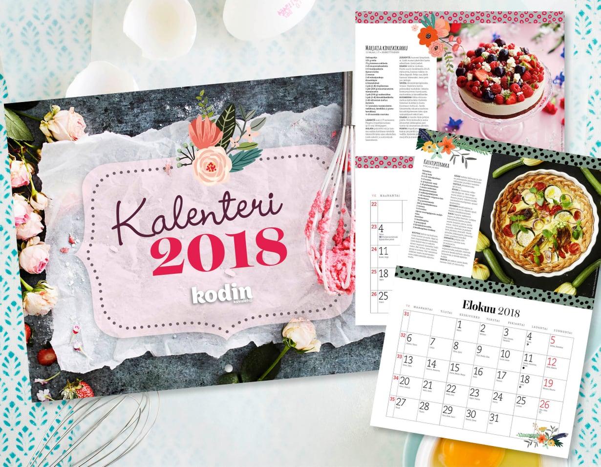 Kodin Kuvalehden kaunis seinäkalenteri sopii vaikkapa keittiön seinälle. Löydät joka kuukauden sivulta ajankohtaan sopivan reseptin.