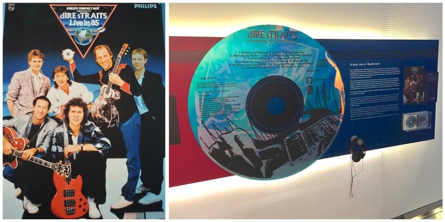 Dire Straits mainostamassa uutuusformaattia, CD-levyä. Kuvat Philips-museosta Eindhovenista.