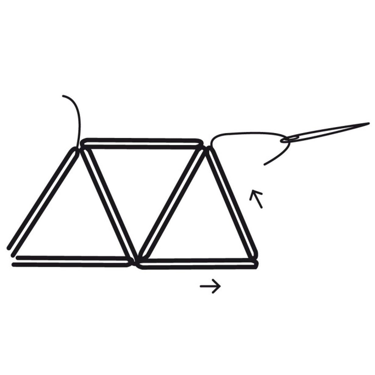 Pujota lankaan kaksi pilliä, kiepauta kolmioksi ja kierrä lanka kaksi kertaa ylänurkan ympäri.