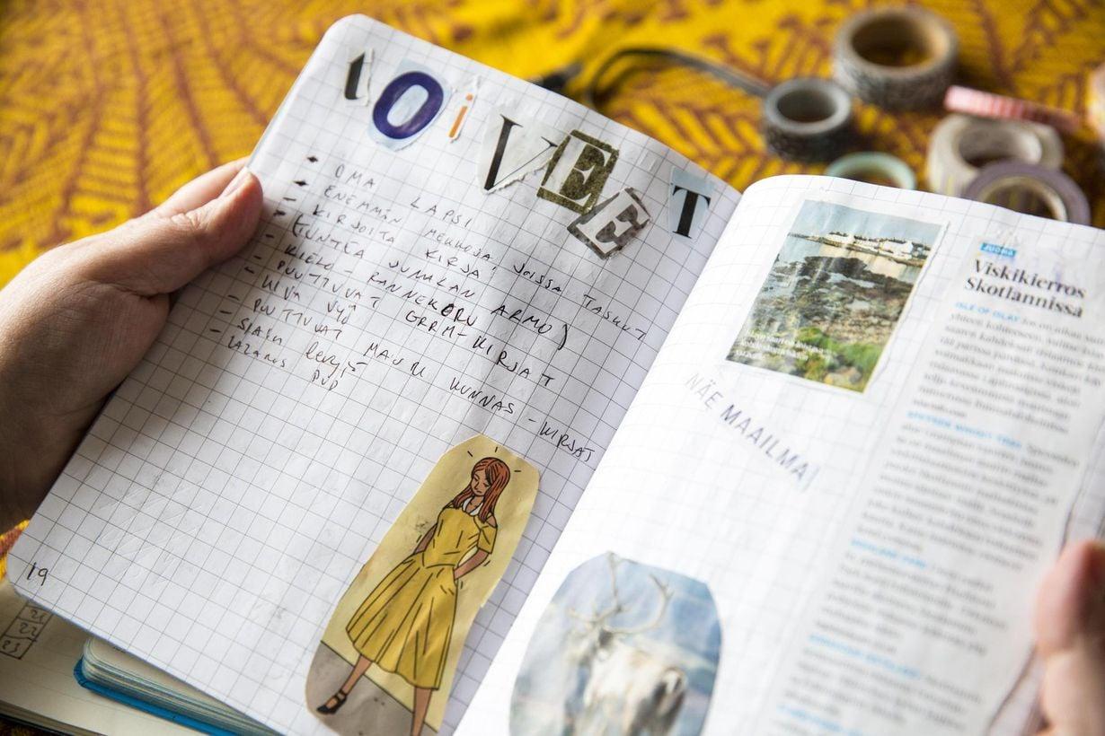 Bullet journaliin voi kalenterin lisäksi sisällyttää esimerkiksi tavoitteita ja toiveita.