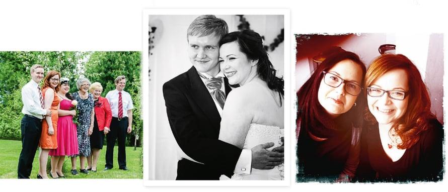 """1. """"Aina, kun on ollutaihetta juhlaan, meillä on juhlittu. Koko perhe vietti sisareni ylioppilasjuhliaviime toukokuussa."""" 2. Anna menilokakuussa 2012 naimisiinPetterinsäkanssa. """"Hänen myötään sain toisenkin ihanan perheen ja suvun."""" 3. """"Ystävät ovat elämäni aarteita.Jonnan (vas.) kanssa olenjakanut monet itkut ja ilot."""""""