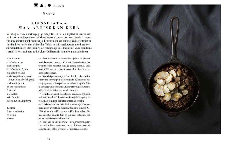 Tässä on linssipatani aukeama kirjasta Pataruokaa (WSOY 2016). Kuvan on ottanut Kreetta Järvenpää.