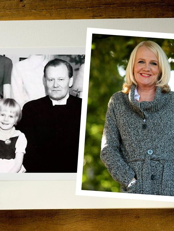 """""""Isän huomio, katse ja lämpö ovat olleet hyvin tärkeitä itsetunnolleni"""", näyttelijä Miitta Sorvali kertoo. Mustavalkoisessa kuvassa perheen kuopus Miitta ja isä Martti Nuortia viettävät joulua Kiteen pappilassa 1950-luvun lopulla. Taustalla näkyy Miitan sisaruksia."""