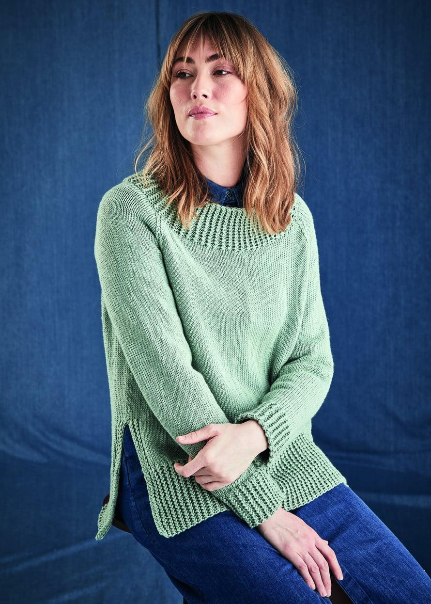 23 Vaalean vihreä neulepusero