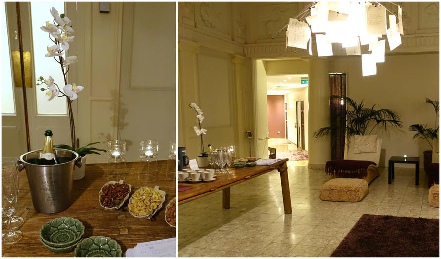 Ennen ja jälkeen hoidon Helsinki Day Span asiakkaat voivat rentoutua aulassa yrttiteetä, kuohuviiniä sekä pähkinöitä ja kuivattuja hedelmiä nauttien.