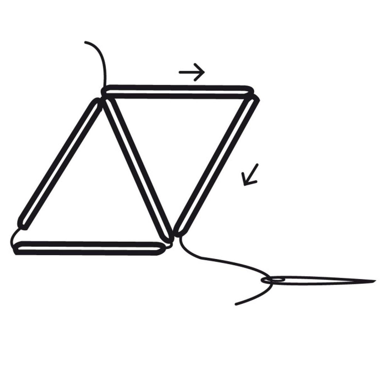 Pujota lankaan kaksi pilliä, käännä kolmioksi ja kierrä lanka kaksi kertaa alanurkan ympäri.