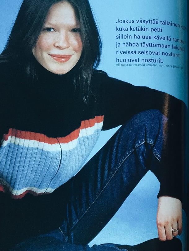 Anni Sinnemäki Kodin Kuvalehdessä vuonna 1998.
