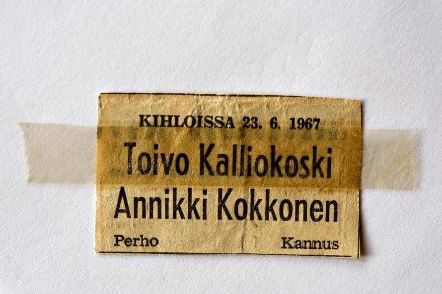 Toivo ja Annikki kihlautuivat juhannuksena 1967.