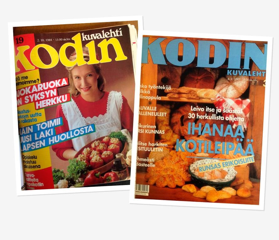 Vuonna 1984 vuokaruoka oli syksyn herkku ja täytetyt paprikat uutta. Lamavuonna 1992 leivottiin itse kotileipää ja säästettiin.