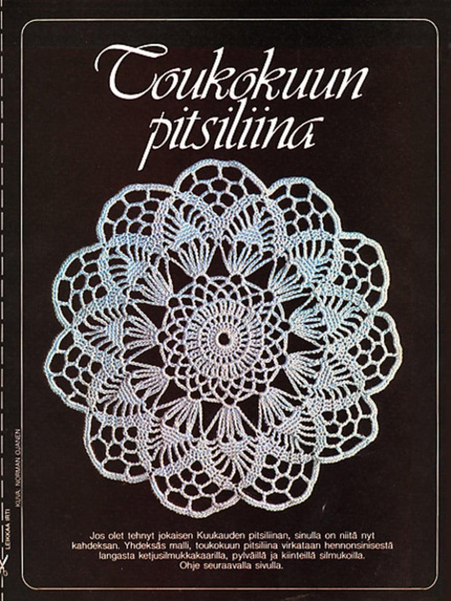Vuonna 1982 Suuri Käsityö -lehden tilaajat saivat lehdestä monta ihanaa pitsiliinan mallia.