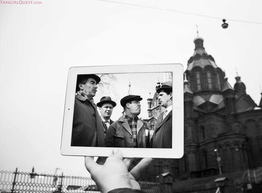 """Tähdet kertovat, komisario Palmu, Helsinki. """"Olemme asuneet suurimman osan elämästämme Helsingissä. Kuva Palmu-elokuvasta on kunnianosoituksemme rakkaalle kotikaupungillemme."""""""