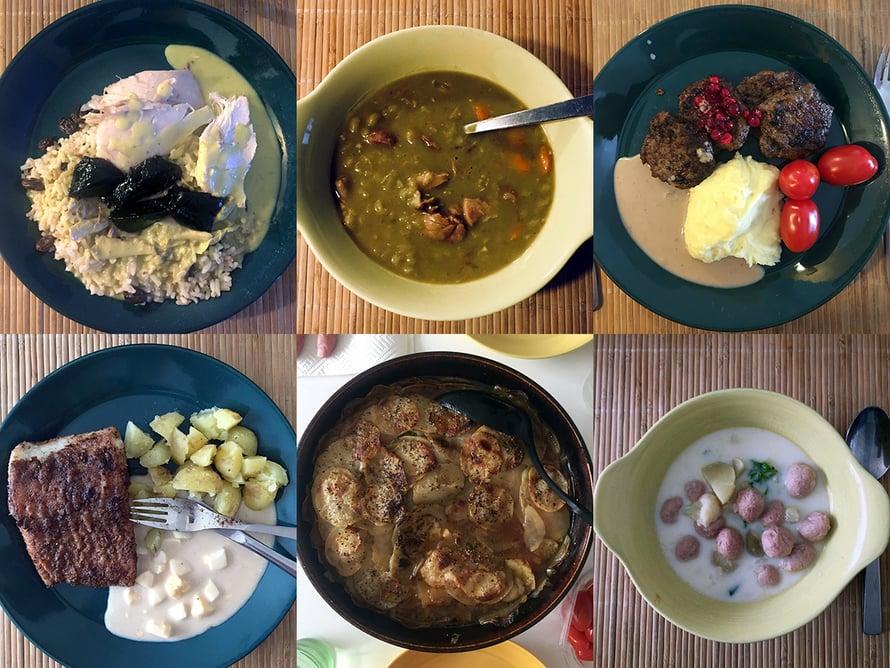 Faija kokkaa skidilleen perinneruokia: kanaviillokkia, hernekeittoa, jauhelihapihvejä, paistettua haukea, merimiespihvejä ja siskonmakkarasoppaa.